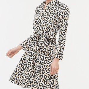 J. Crew Factory Leopard tie-waist shirtdress